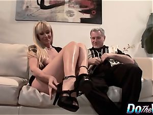 blonde cougar porks in front of her hubby