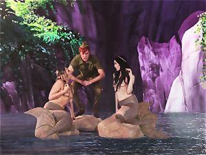 scorching mermaid three way with Aiden Ashley and Mia Malkova
