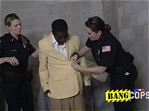 Wrondoing pimp is compelled by abnormal milf cops into raunchy fuck-a-thon