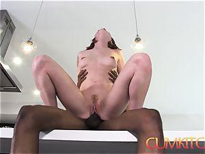 CUMKITCHEN: Pepper Hart gets stiff plowed by big black cock Isiah