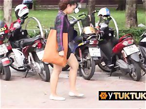 chinese girl is seduced in public into going back to tourists hotel for fuck-fest