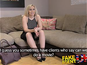 FakeAgentUK taut clean-shaved vag banged over desk