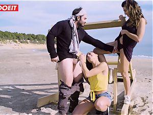 LETSDOEIT - pornographic stars fuck a lucky man at the Beach