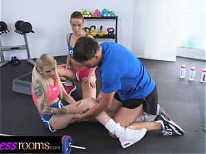 fitness rooms Gym schoolteacher threesome with 2 super-naughty stunners