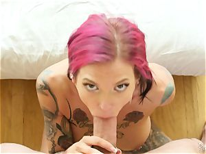 inked goth cougar Anna Bell Peaks has super hot sensual fuck-a-thon with her neighbor
