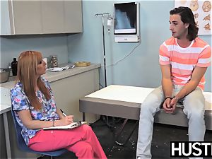 Redhaired nurse Lauren Phillips analed vigorously