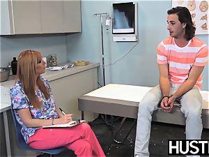 Redhaired nurse Lauren Phillips analed vigorously