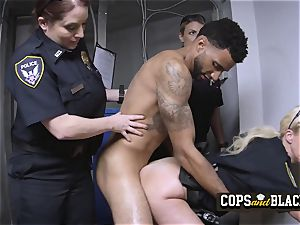 skinny D lets these cougar cops stuff their faceholes with his hefty rod