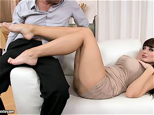 Aletta Ocean uses her super-sexy soles to wank fuckpole