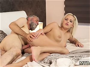 older woman screws chick Surprise your girlcompanion and she will pulverize with your dad
