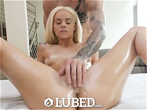 greased well-lubed meaty pink cigar plow with small ash-blonde Elsa Jean