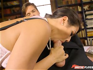 Headmistress Eva Lovia plays with her naughty college girl