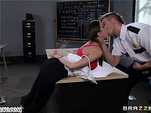 Policeman punishes crazy college girl on the table