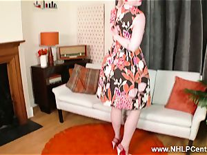 blonde unwraps retro underwear strokes in high-heeled shoes nylon