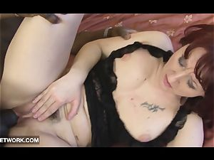 older nymphs plowed by ebony fellow in her pussy gets jizm