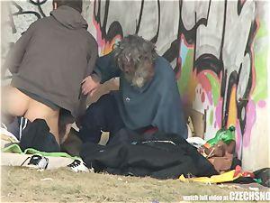 Homeless threeway Having orgy on Public