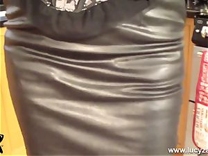 platinum-blonde mummy Lucy Zara in all leather toys her raw poon