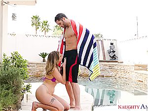 Giselle Palmer pounded by the pool