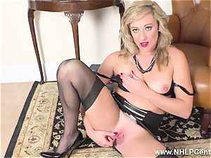 blonde finger pokes raw cootchie in girdle vintage nylons