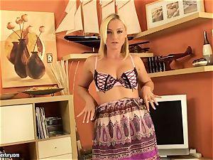 Kathia Nobili towheaded honey let her thong peek