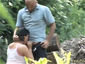 chubby babe gets kinky drilled in the woods