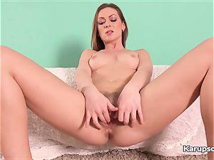 Solo Mischelle finger-tickling Her unshaved honeypot