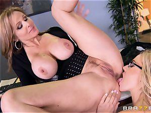 manager Julia ann pummels her wondrous secretary Olivia Austin