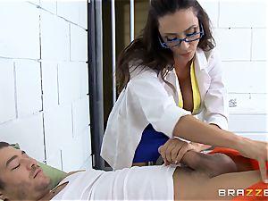 handsome jail doc Ariella Ferrera jerks off her patient