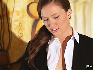 Maddy OReilly is pummeled over the desk by the manager