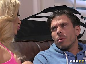 Summer Brielle tears up her rock-hard tennis coach