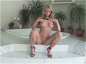 luxurious blondie gives her landing de-robe puss an mighty ejaculation