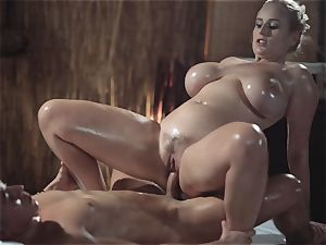 rubdown apartments wondrous milf with giant congenital funbags