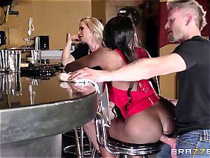 Mature womens Diamond Jackson & Simone Sonay get their fat ass ravaging on the bar