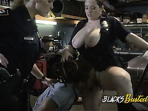Mechanic gets his implement polished by milf cops facehole and twats