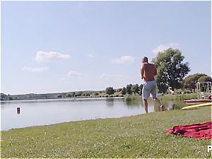 lucky dude having a great time at the lake pt two