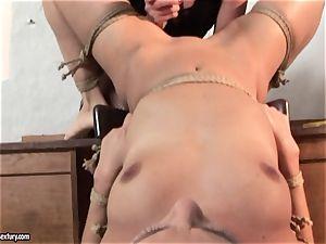 Kathia Nobili tie slender honey on table and fake penis poke