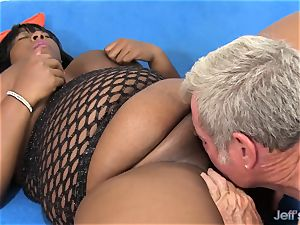 dark-hued bbw pleases a boy with Her assets