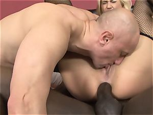 blond multiracial buttfuck ravaged eating cum cootchie pulverize