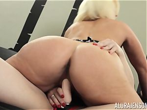 Alura Jenson puss filled with strapon strong muscled girl Brandi May