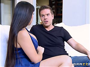 busty dark haired Mercedes Carrera rails on top