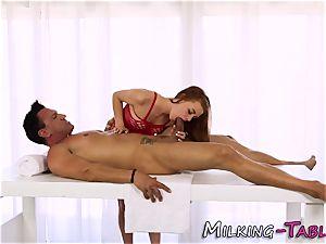 Pretty massagist gargling
