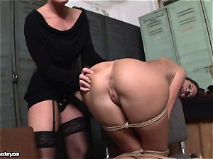 Kathia Nobili lets a steaming gal deep-throat her rope on