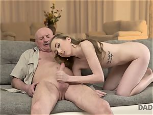 DADDY4K. orgy of dad and youthful lady finishes with unexpected creampie