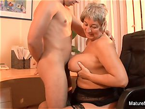 Mature bbw takes a blast on her massive congenital tits