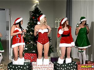 2 men get the best Christmas surprise with redheaded Amarna Miller and her two super-steamy buddies Tricia teenage and Blanche Bradburry