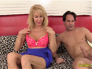 wonderful blondie grannie Erica Lauren stretches Her gams for a fat manhood